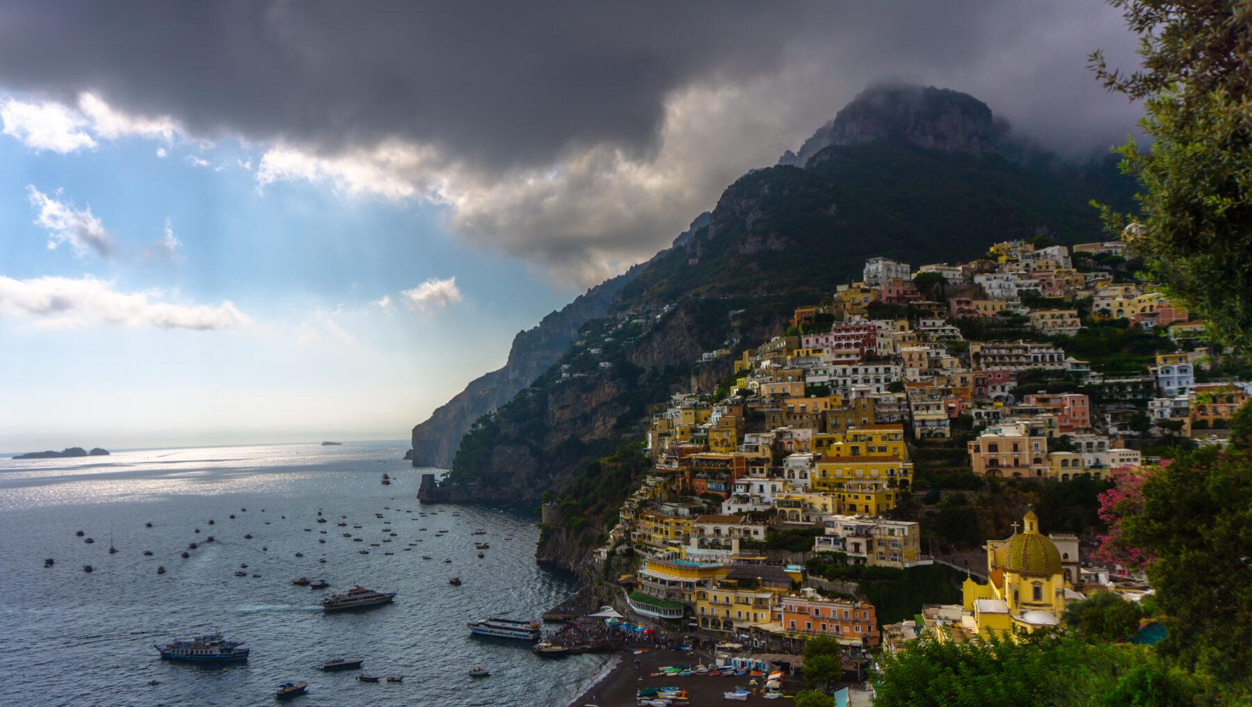 Amalfi Coast, Colorful Houses At Positano