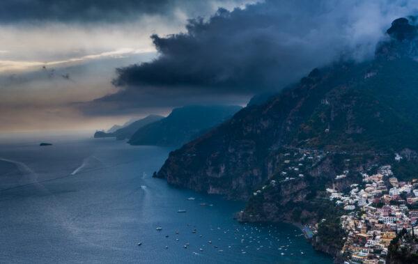 Amalfi Coast, Rainy View To Positano