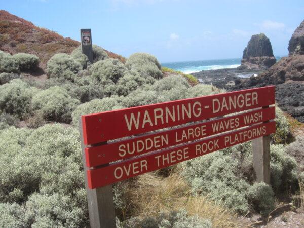 Australia - Cape Schanck, Warning Sign