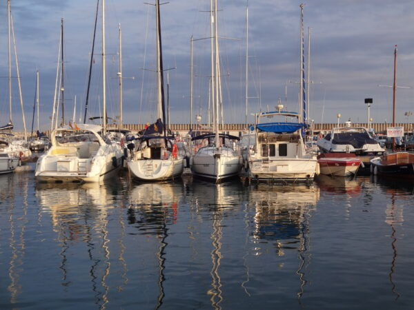 Barcelona, Boats Reflecting In Water