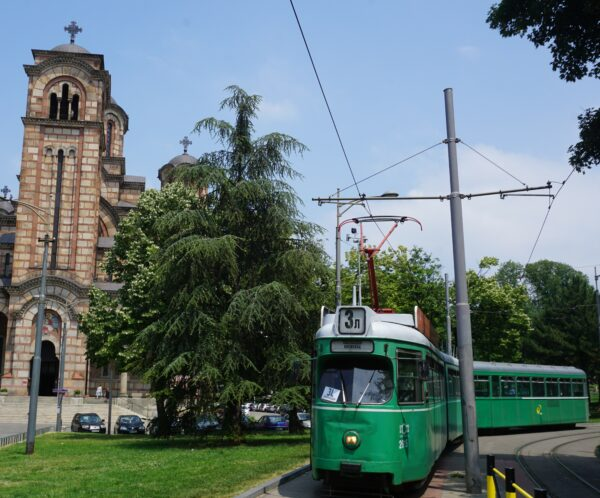 Belgrade, Tram In Front Of Saint Marks Church
