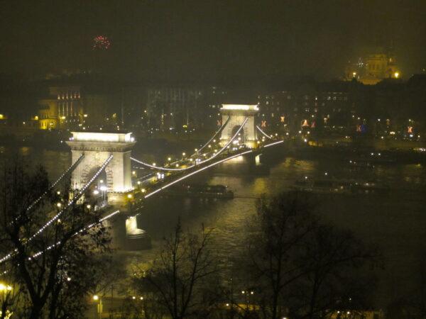 Budapest, Chain Bridge At New Year