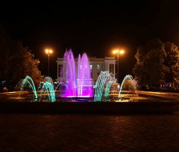 Dushanbe Fountain At Night