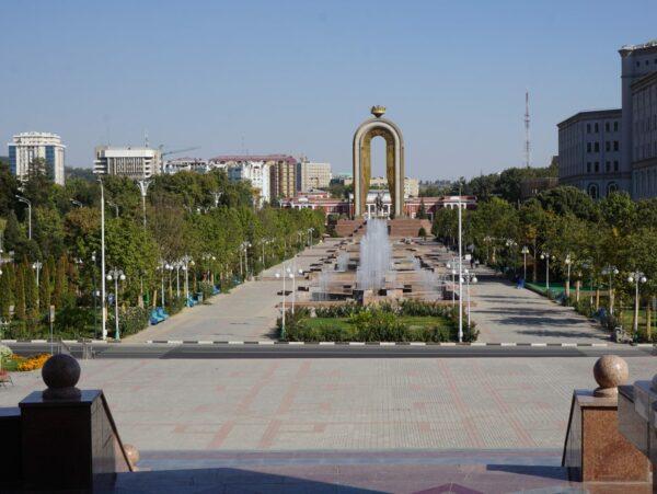 Dushanbe, View To Ismoili Somoni Statue