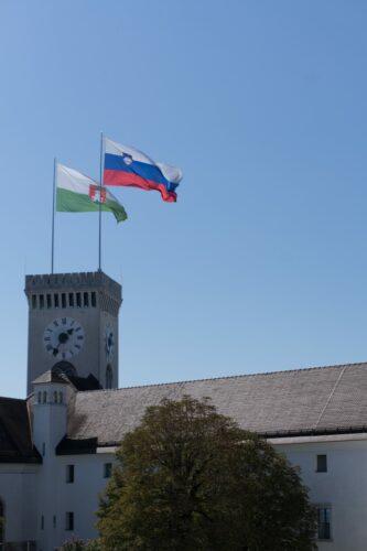 Flags On Ljubljana Castle Tower