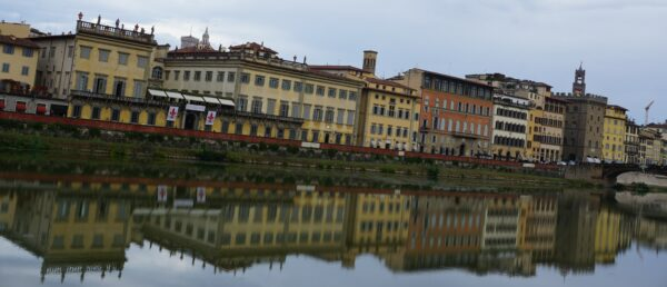Florence, Houses Reflecting In Arno River