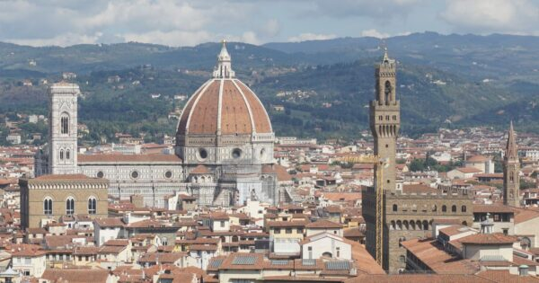 Florence, Top View To Cathedral And Palazzo Vecchio