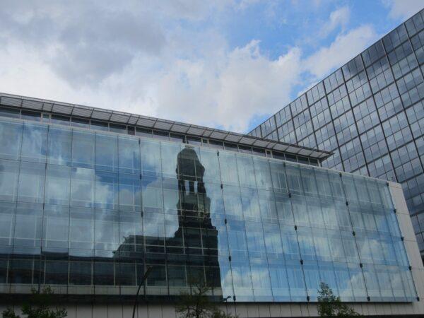 Hamburg, Church Reflecting In Glass Front