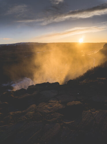 Iceland, Gullfoss Water Spraying