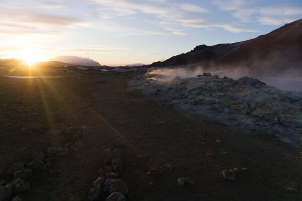 Iceland - Myvatn, Sun View At Namaskard Hot Springs