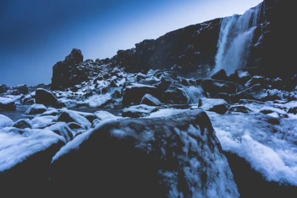 Iceland, Öxararfoss At Thingvellir National Park