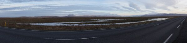 Iceland, Panorama Road View To Hekla And Eyjafjallajökull Volcanos