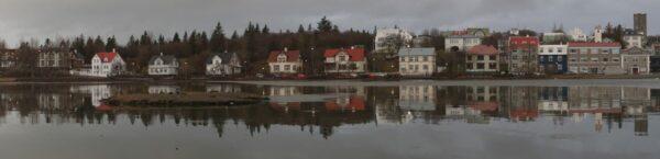 Iceland - Reykjavik, Houses Reflecting In Tjörnin Lake