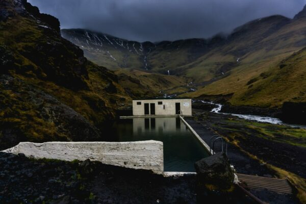 Iceland, Seljavallalaug Swimming Pool