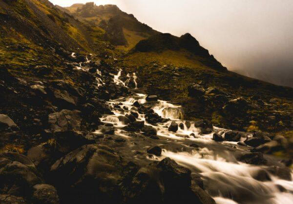 Iceland, Small Waterfall