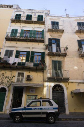 Ischia, Police Car In Front Of Buildings