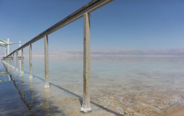 Israel, Handrail In Dead Sea At Ein Bokek