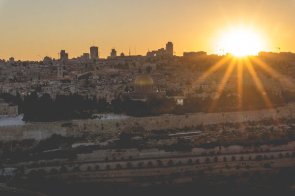 Israel - Jerusalem, View To Temple Mount Sunset