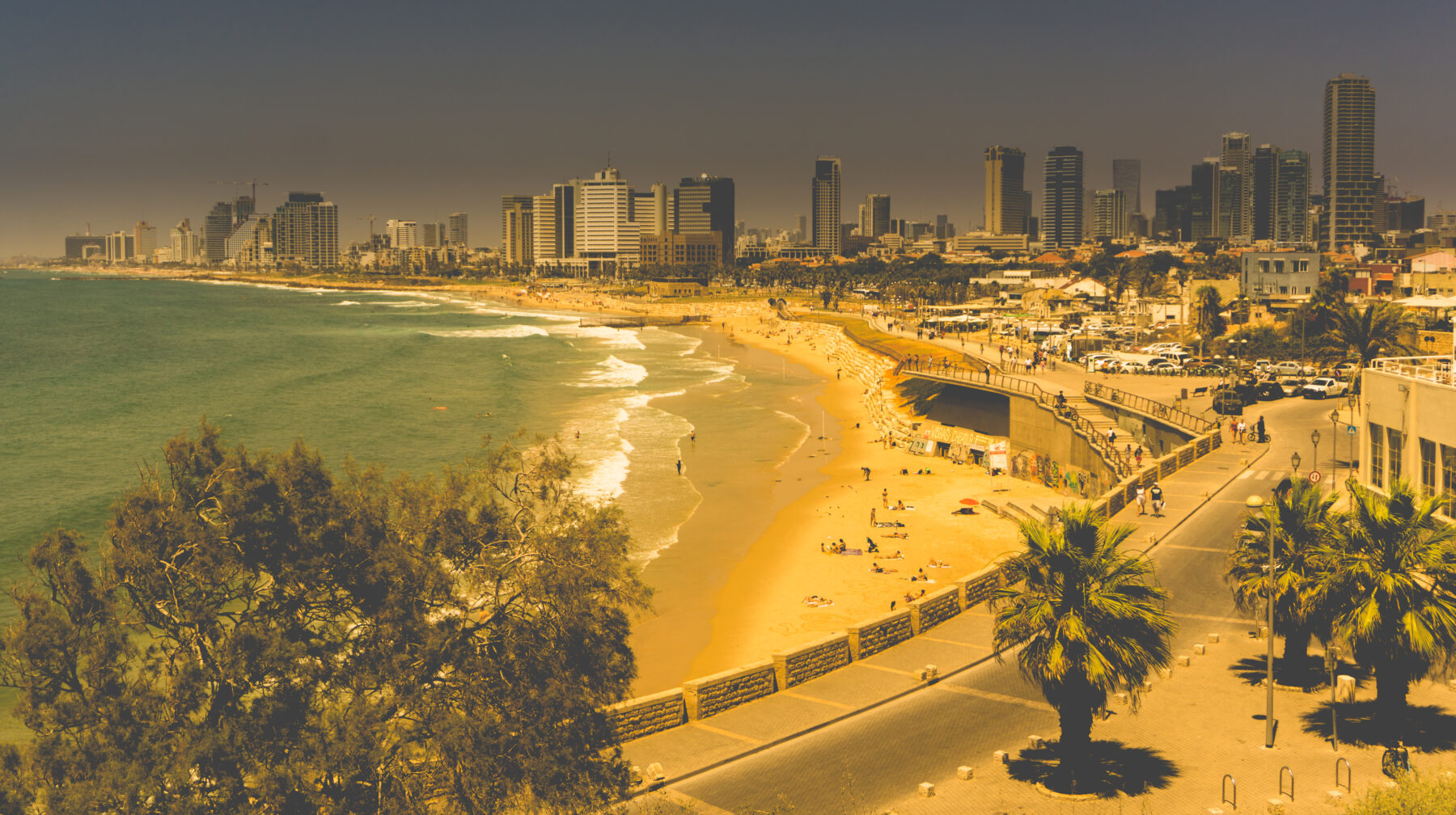 Israel, View To Tel Aviv Beach And Skyline