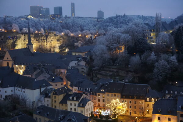 Luxembourg, Snow View At Night
