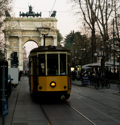 Milan, Tram No. 10 In Front Of Arco Della Pace