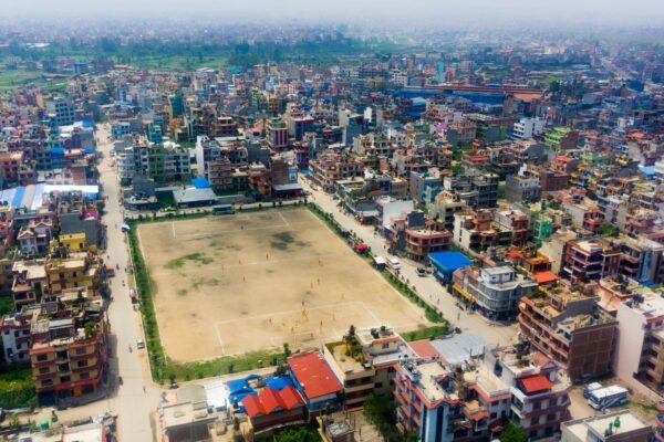 Nepal, Air Photography Of Football Field At Kathmandu