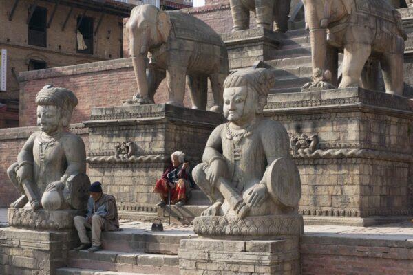Nepal - Bhaktapur, People And Statues