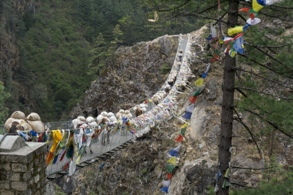 Nepal, Donkeys Crossing Hillary Suspension Bridge