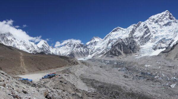 Nepal, Gorak Shep With Mountain Panorama