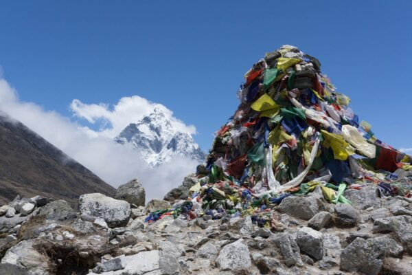 Nepal, Mani Prayer Flags With Mountains Background