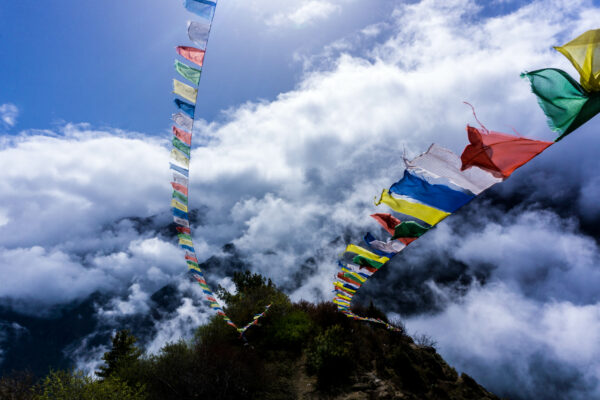 Nepal, Prayer Flags In Clouds