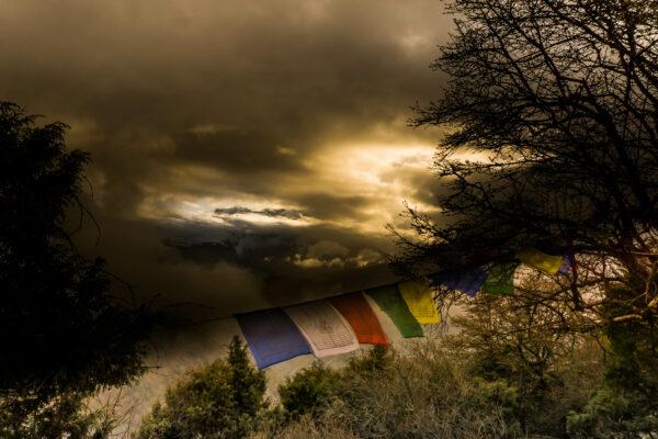Nepal, Prayer Flags Sunset