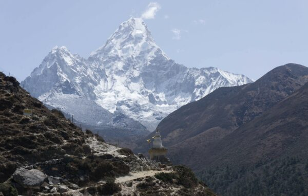 Nepal, Stupa In Front Of Ama Dablam