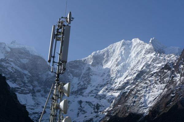 Nepal - Tengboche, Transmitting Mast With Mountain Panorama