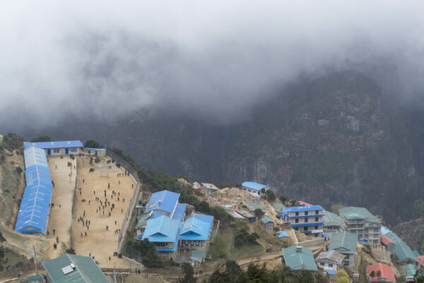 Nepal, View To School At Namche Bazaar