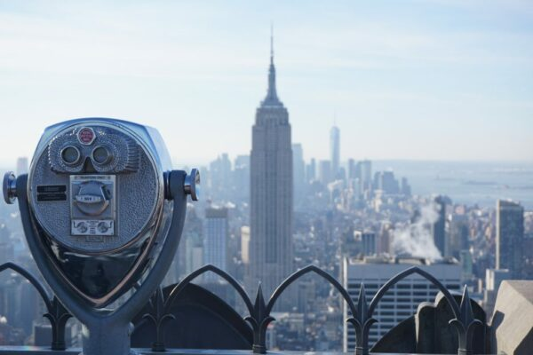 New York, Binoculars View From Rockefeller Center Top Of The Rock