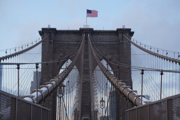 New York, Brooklyn Bridge Front View
