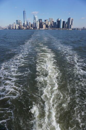 New York, Ferry View To Manhattan Skyline