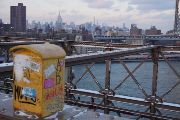 New York, Mailbox On Brooklyn Bridge