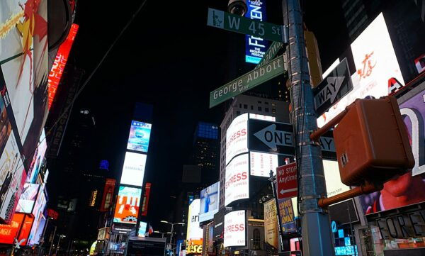 New York, Street Name Signs At Times Square