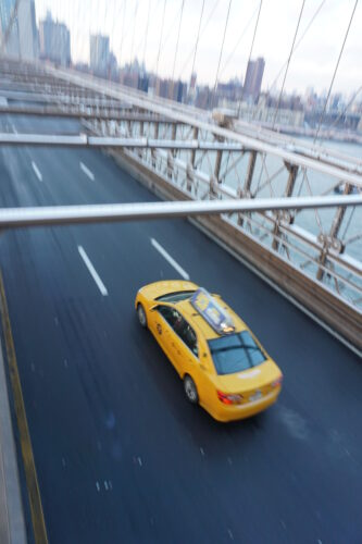 New York, Taxi At Brooklyn Bridge