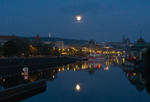 Prague, Full Moon Reflecting In Water