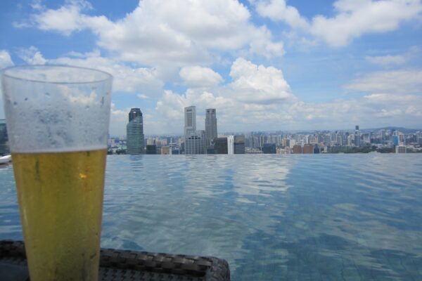 Singapore, Beer On Top Of Marina Bay Sands Hotel Infinity Pool