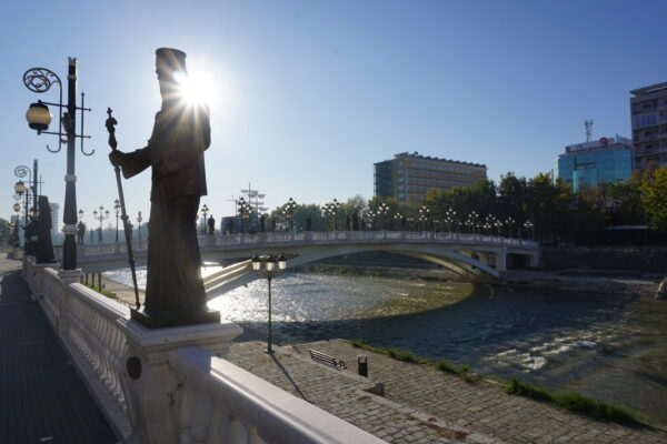 Skopje, Statue In Sunshine