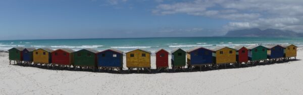 South Africa - Muizenberg, Panorama View Of Bright Coloured Beach Houses