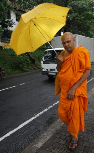 Sri Lanka, Monk With Umbrella