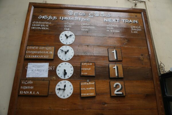 Sri Lanka, Wooden Train Schedule At Nanu Oya Train Station