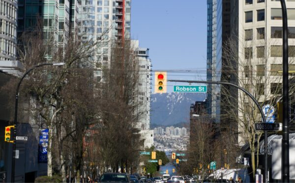 Vancouver, View To Sea From Robson Street
