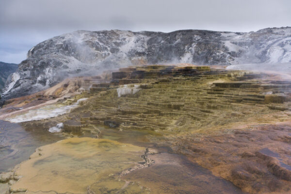 Yellowstone National Park, Mound And Jupiter Terraces At Mammoth Hot Springs